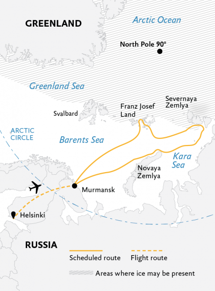 Map for High Arctic Odyssey: Remote Russian Archipelagos