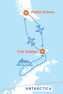 Map for Classic Antarctica Fly Cruise (Hebridean Sky)