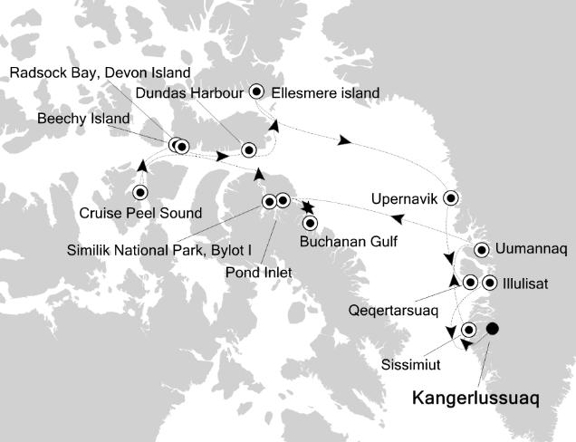 Map for High Arctic Explorer (Kangerlussuaq to Kangelussuaq)