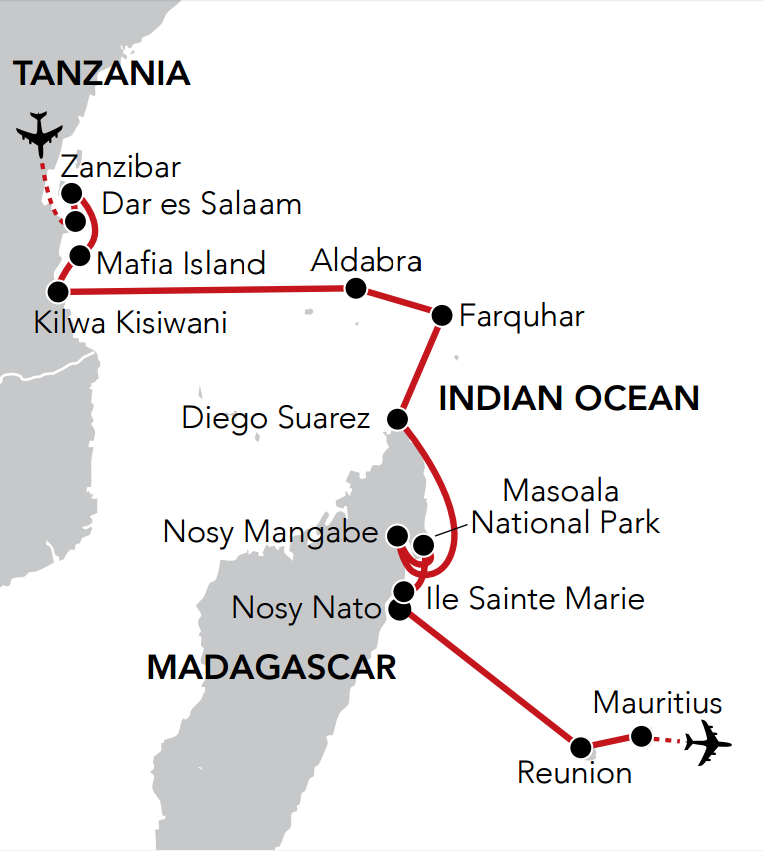 Map for Christmas & New Year in the Indian Ocean
