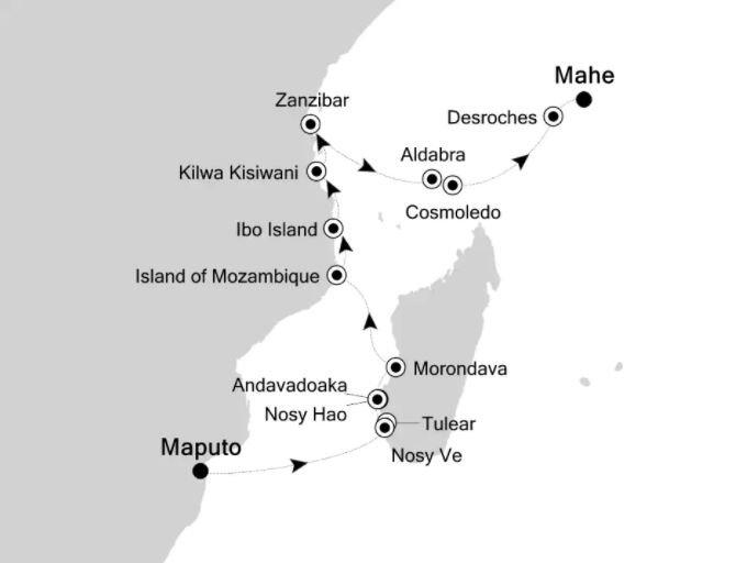 Map for Expedition Madagascar and Aldabra