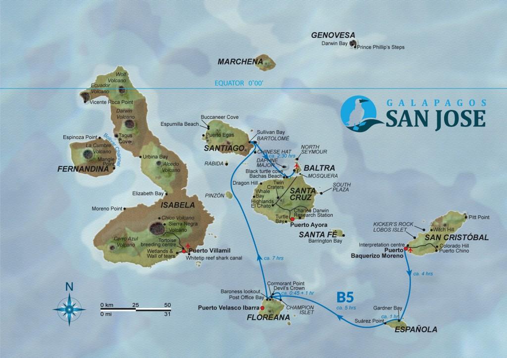 Map for Galapagos 5 Day Cruise Itinerary B (San Jose)