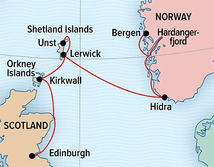 Map for Norwegian Fjords and Scottish Isles
