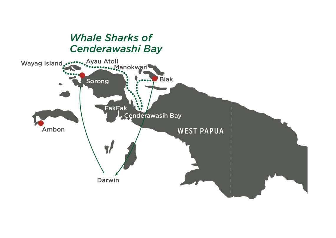 Map for The Whale Sharks of Cenderwasih Bay