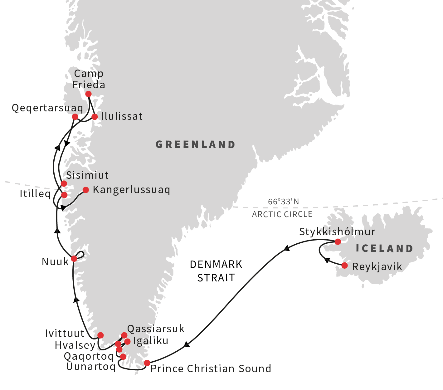Map for From Mythical Iceland to Untouched Greenland
