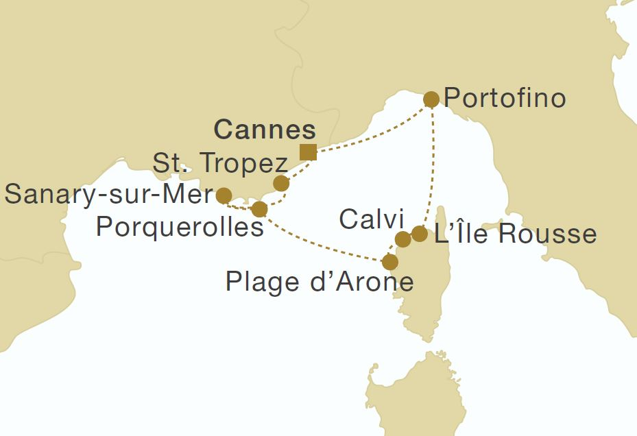 Map for Corsica & French Riviera Cruise