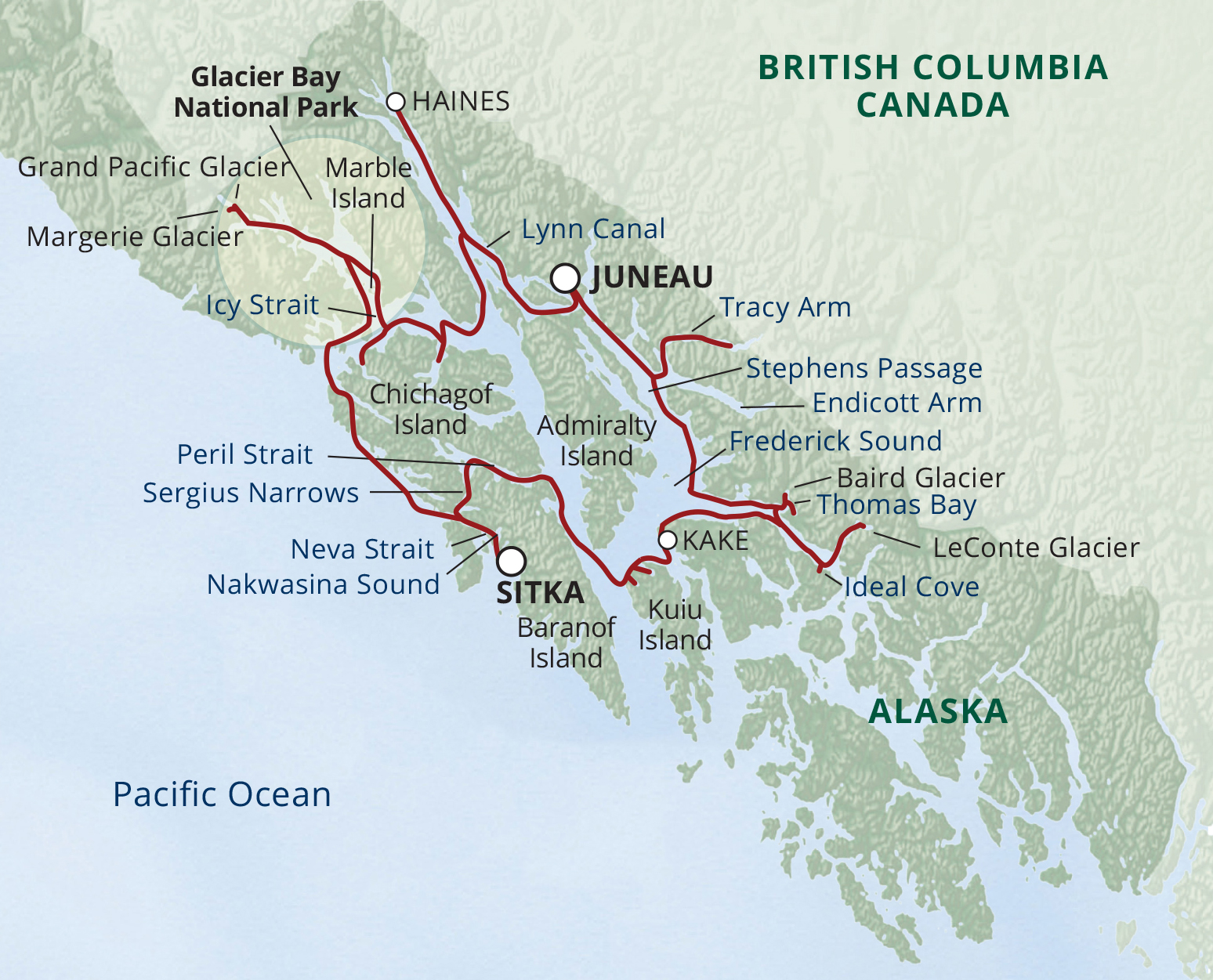 Map for Alaska Glacier Cruise—Ultimate Expedition (S.S. Legacy)