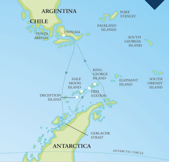 Map for Christmas In Antarctica 2018 (RCGS Resolute)