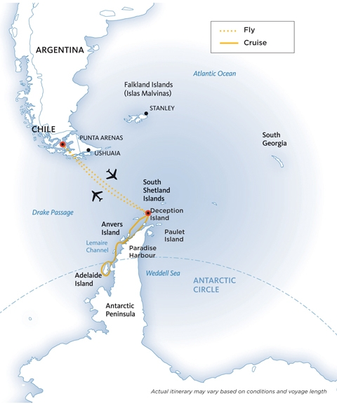 Map for Antarctic Express: Crossing the Circle