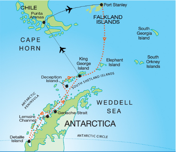 Map for Quest for the Antarctic Circle (Akademik Ioffe)