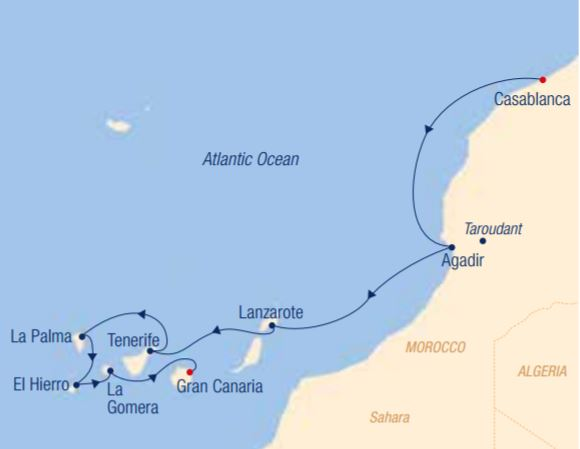 Map for From Magical Morocco to Six Canarian Sisters