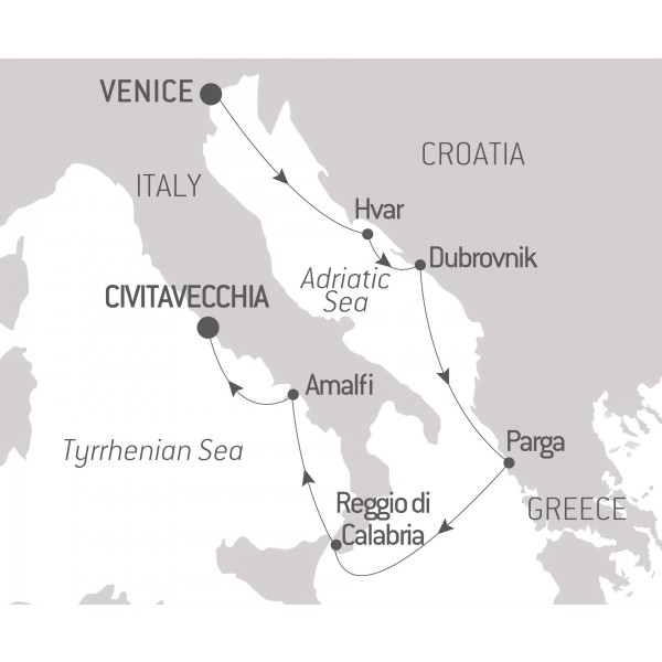Map for From the Adriatic to Roma