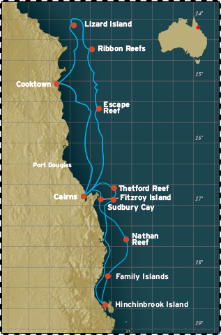 Map for Great Barrier Reef Cruise - North (Coral Expeditions I)