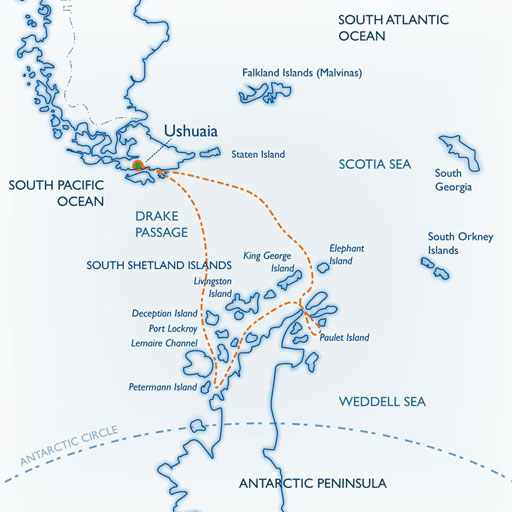 Map for Classic Antarctica (Ushuaia)