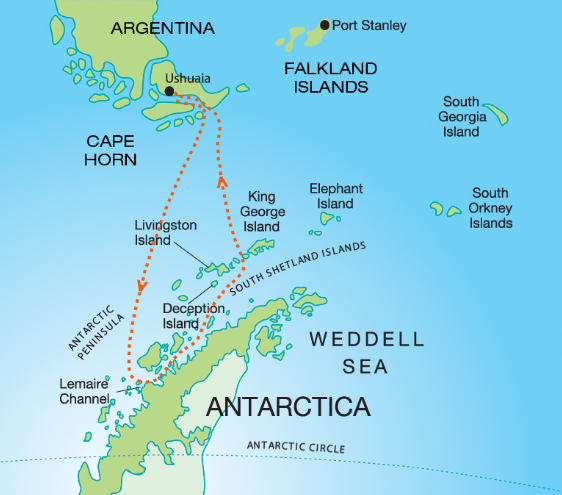 Map for Christmas in Antarctica (Akademik Ioffe)