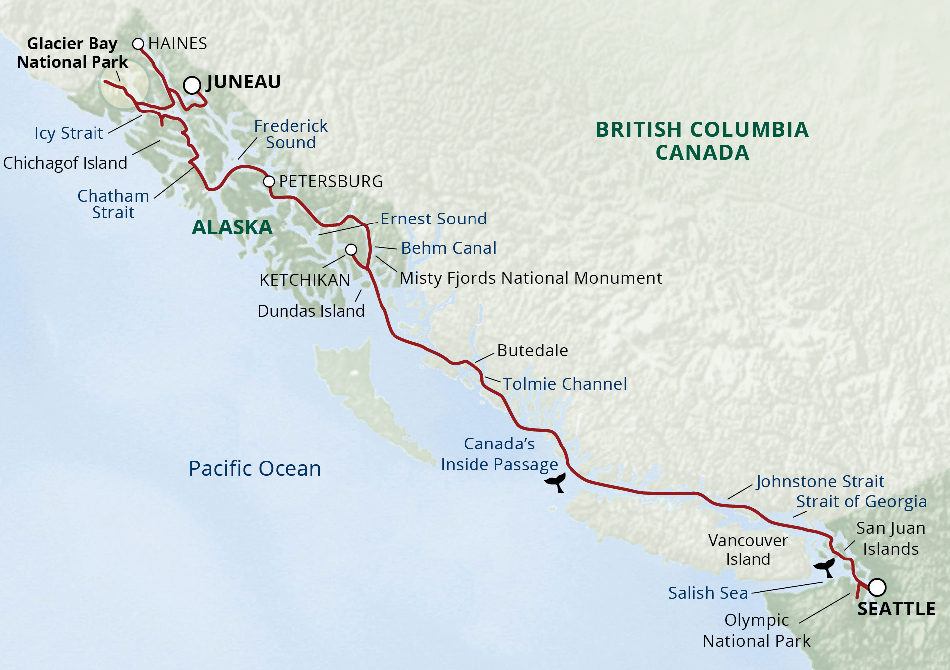 Map for Alaska's Inside Passage & San Juans Cruise (Wilderness Discoverer)