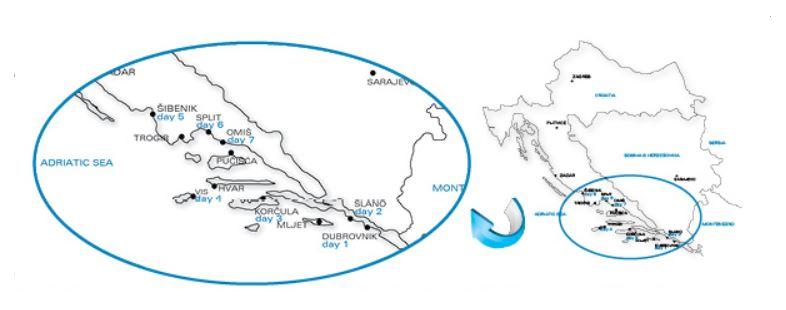 Map for Dalmatian Islands Cruise (Adriatic Pearl)