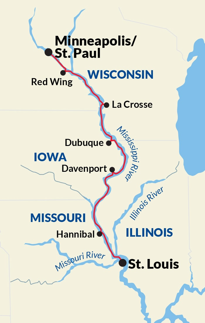 Map for Upper Mississippi River Cruise
