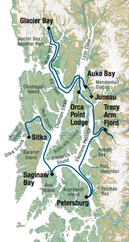 Map for True Alaskan Family Cruise