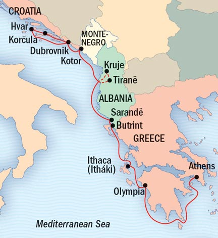 Map for Under Sail: Greece and the Dalmatian Coast