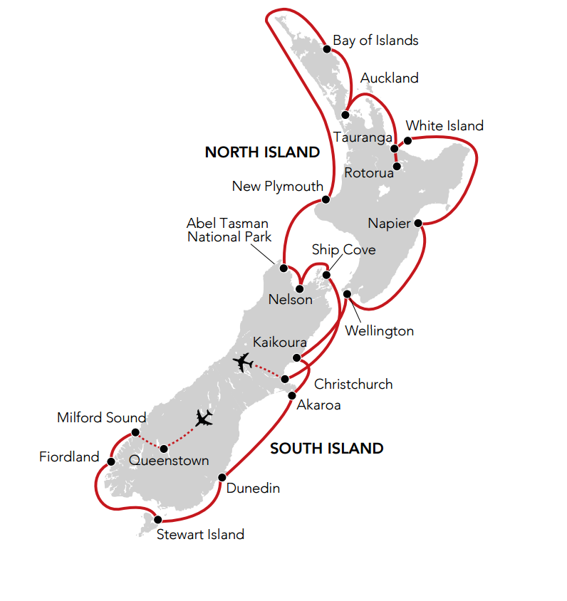 Map for New Zealand Island Discovery