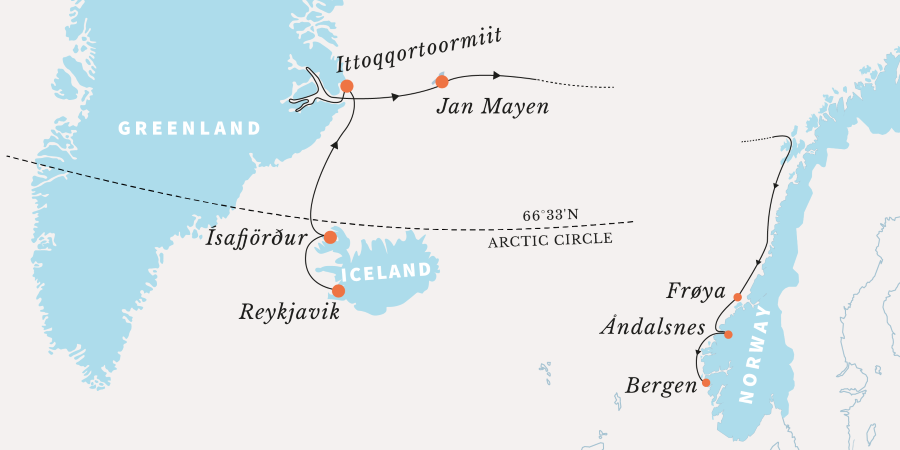 Map for The Ultimate Fjord Expedition in the Arctic