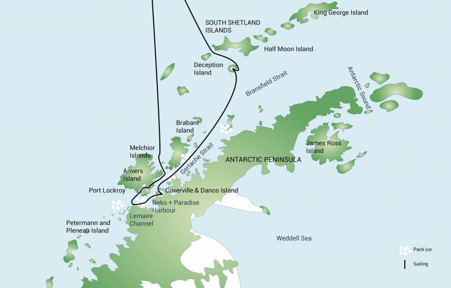 Map for Antarctic Peninsula with South Shetland Islands (Plancius)