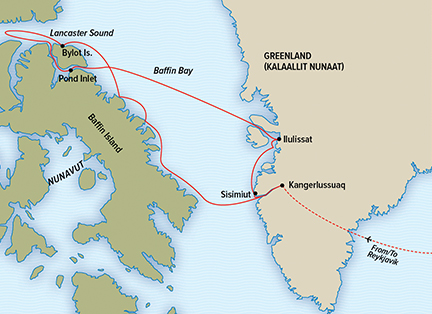 Map for Exploring Greenland and the Canadian High Arctic