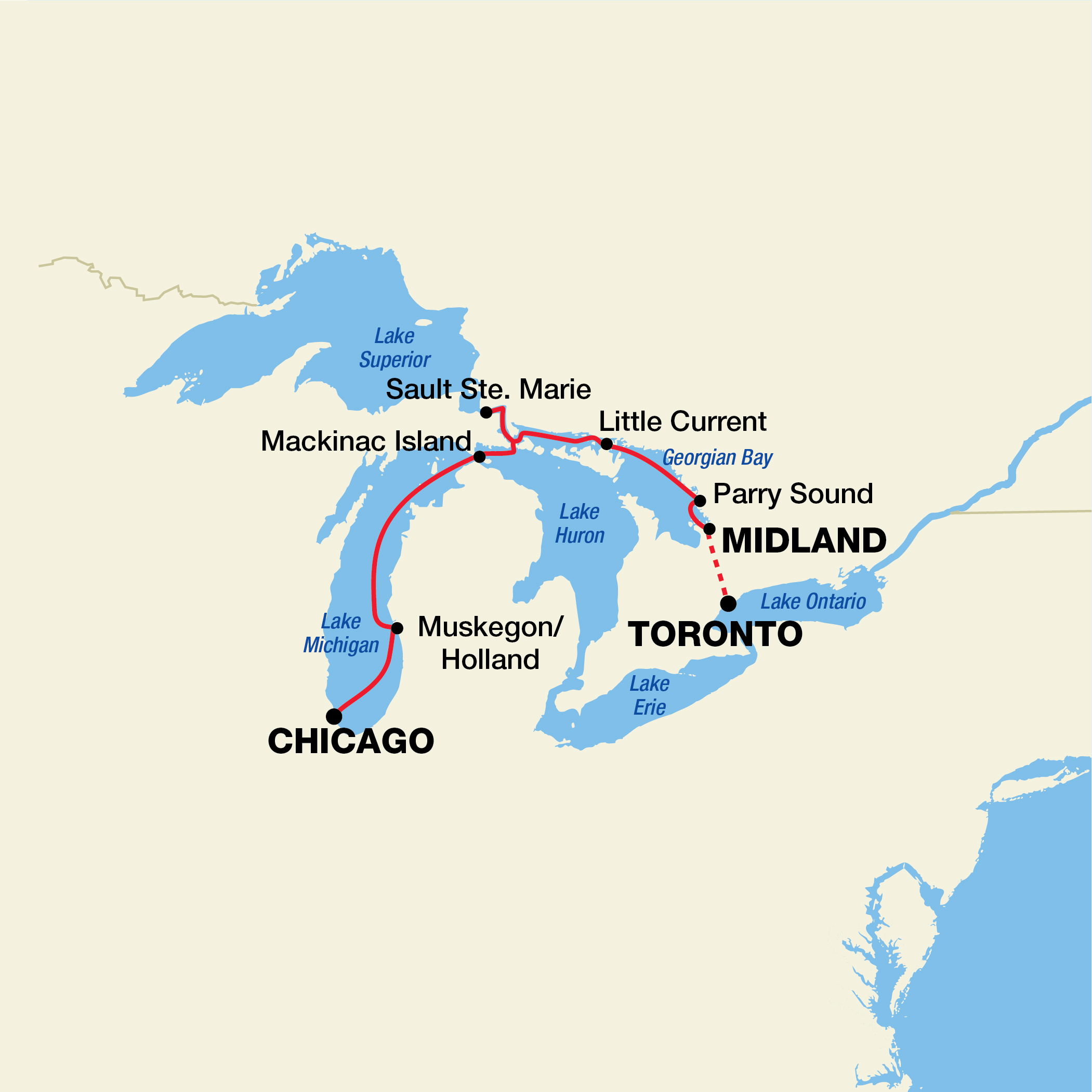Map for Great Lakes Cruise