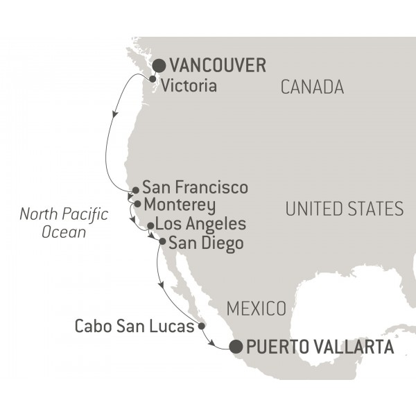 Map for From Canada to Mexico