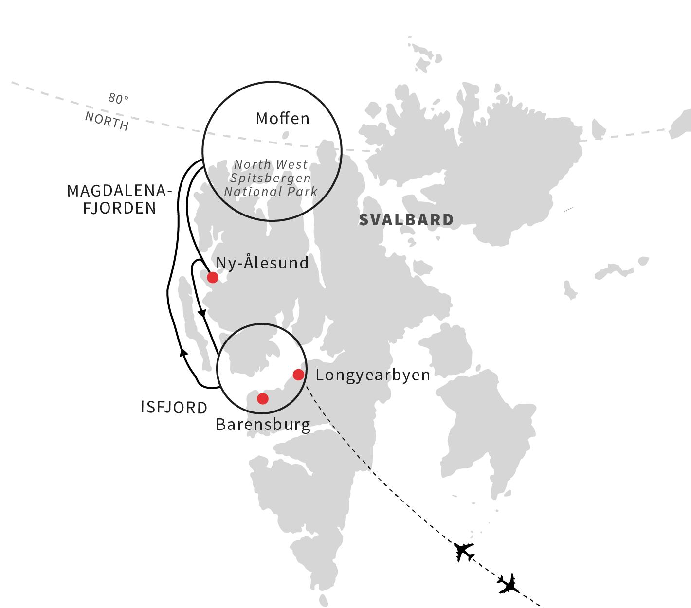 Map for Spitsbergen and Polar Bears - An Arctic Adventure (B)