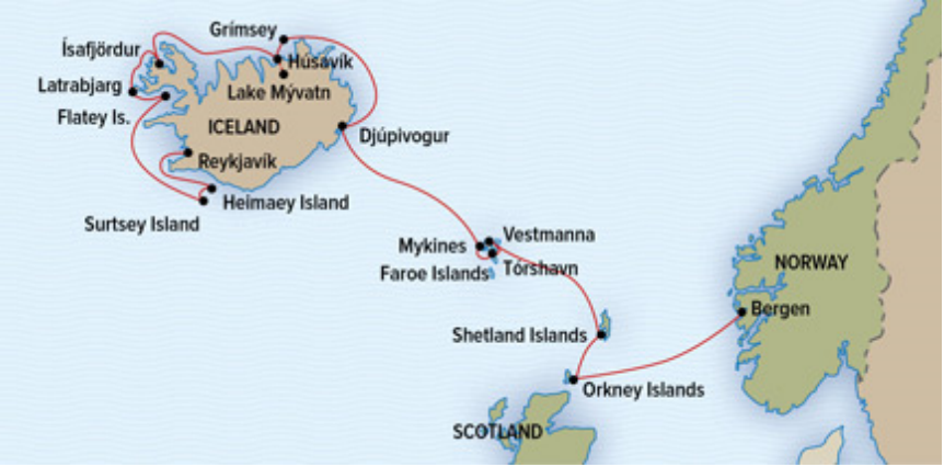 Map for Shetlands, Orkney, Faroes, and Iceland Adventure