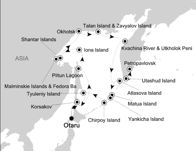 Map for Around the Sea of Okhotsk