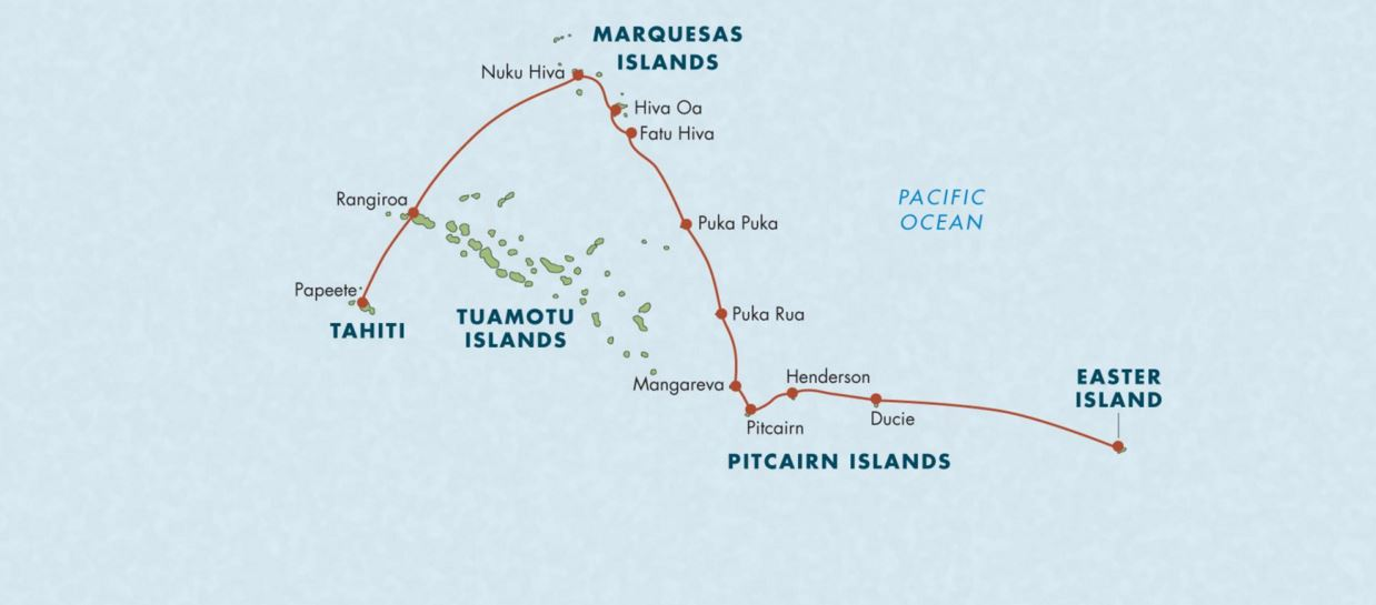 Map for From Tahiti to Easter Island