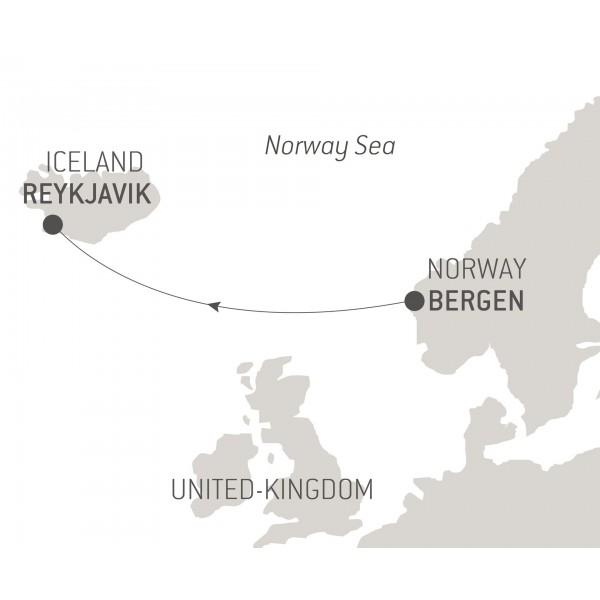 Map for Ocean Voyage: Bergen - Reykjavik
