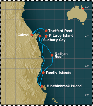 Map for Great Barrier Reef - 4 Days Cruise (Coral Expeditions I)