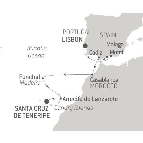 Map for From Lisbon to Canary Islands 2019