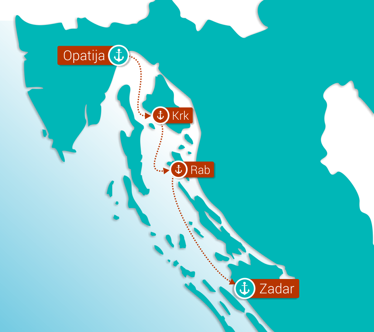 Map for Mini Cruise: From Opatija to Zadar