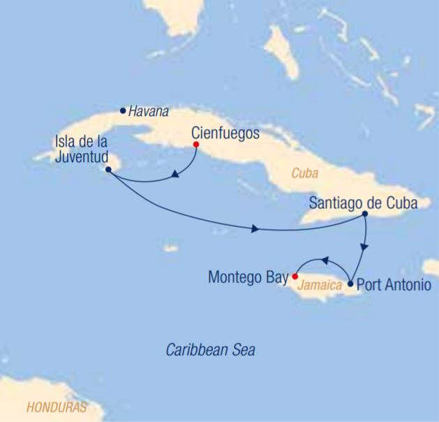 Map for Cuba: Infectious Rhythms and Nature's Paradises