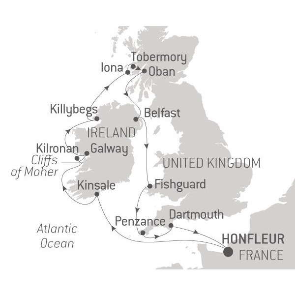 Map for Ireland, Scotland and Cornwall