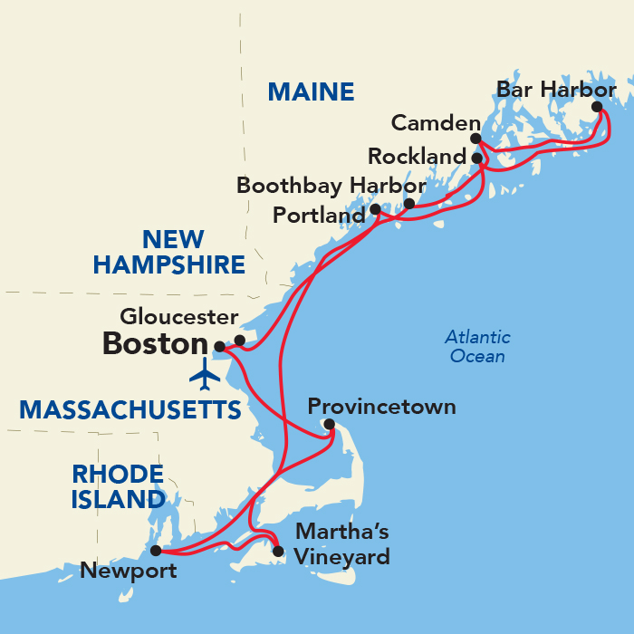 Map for Grand New England Cruise (American Constitution)
