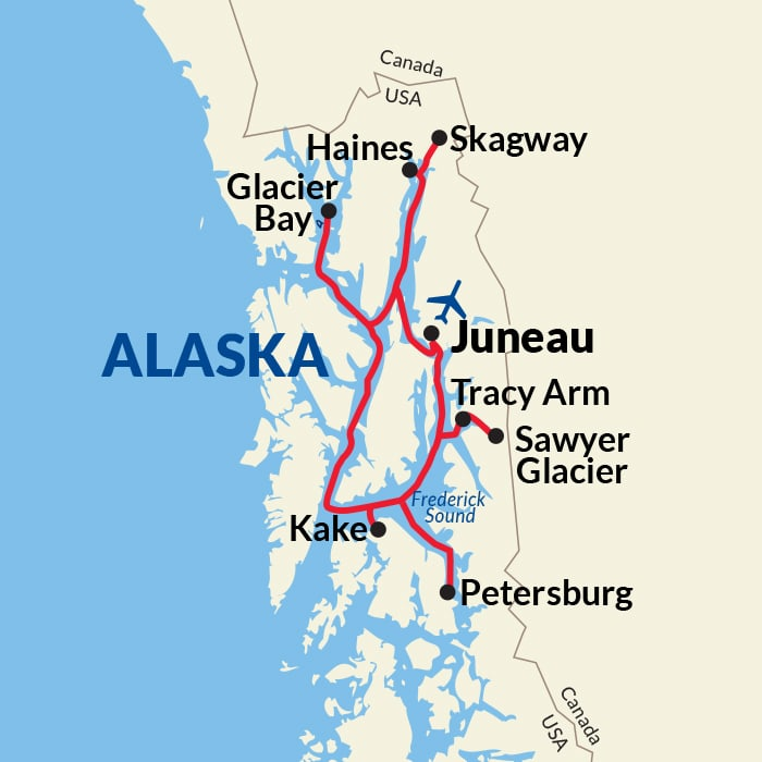 Map for Southeast Alaska Adventure