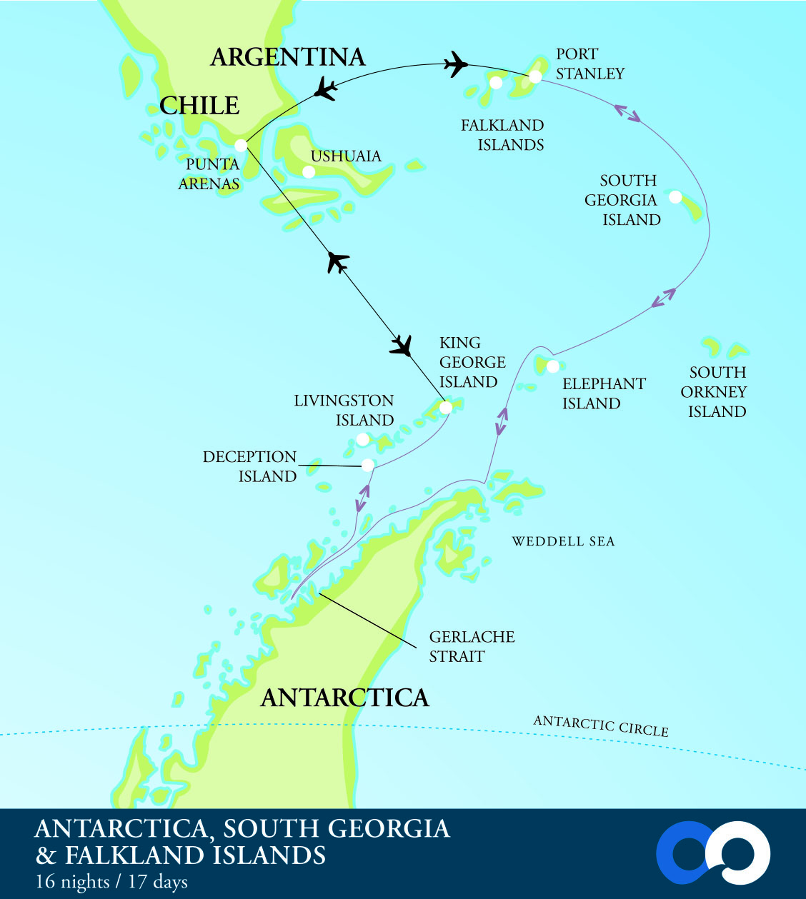 Map for South Georgia & Antarctica Fly Both Ways Cruise