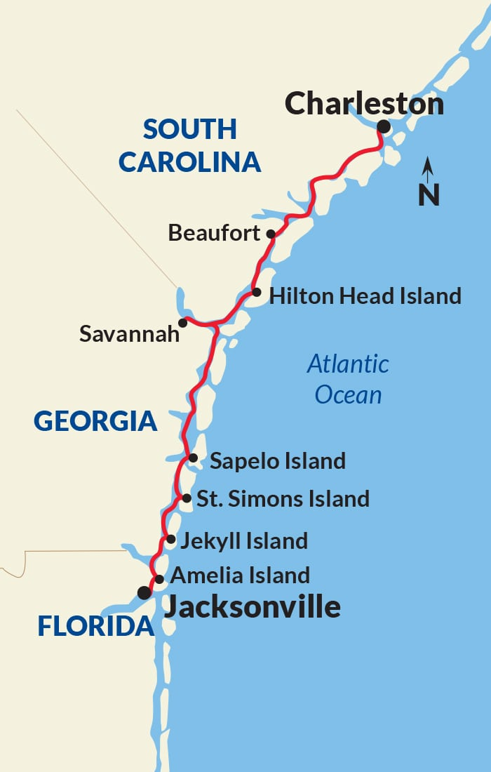 Map for Historic South and Golden Isles Exploration