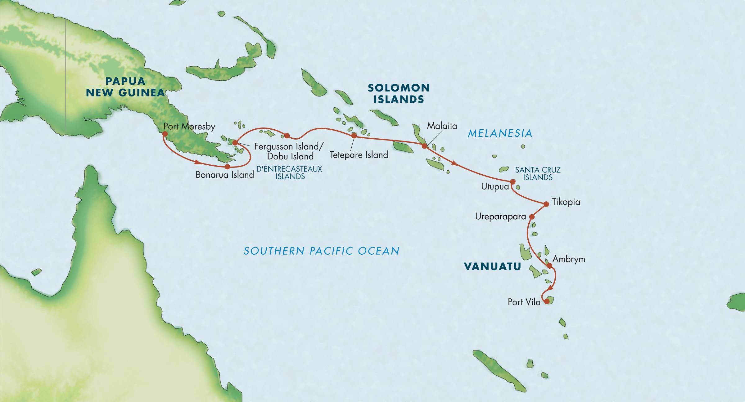 Map for Melanesia, Solomon Islands & Vanuatu