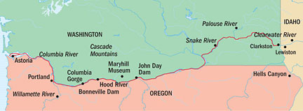 Map for Columbia & Snake Rivers Adventure