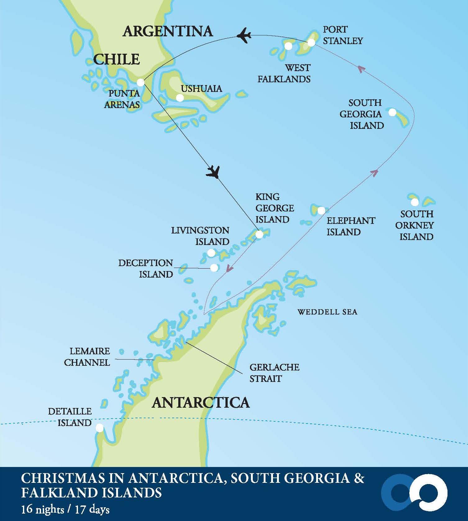 Map for Christmas in Antarctica, South Georgia & Falklands