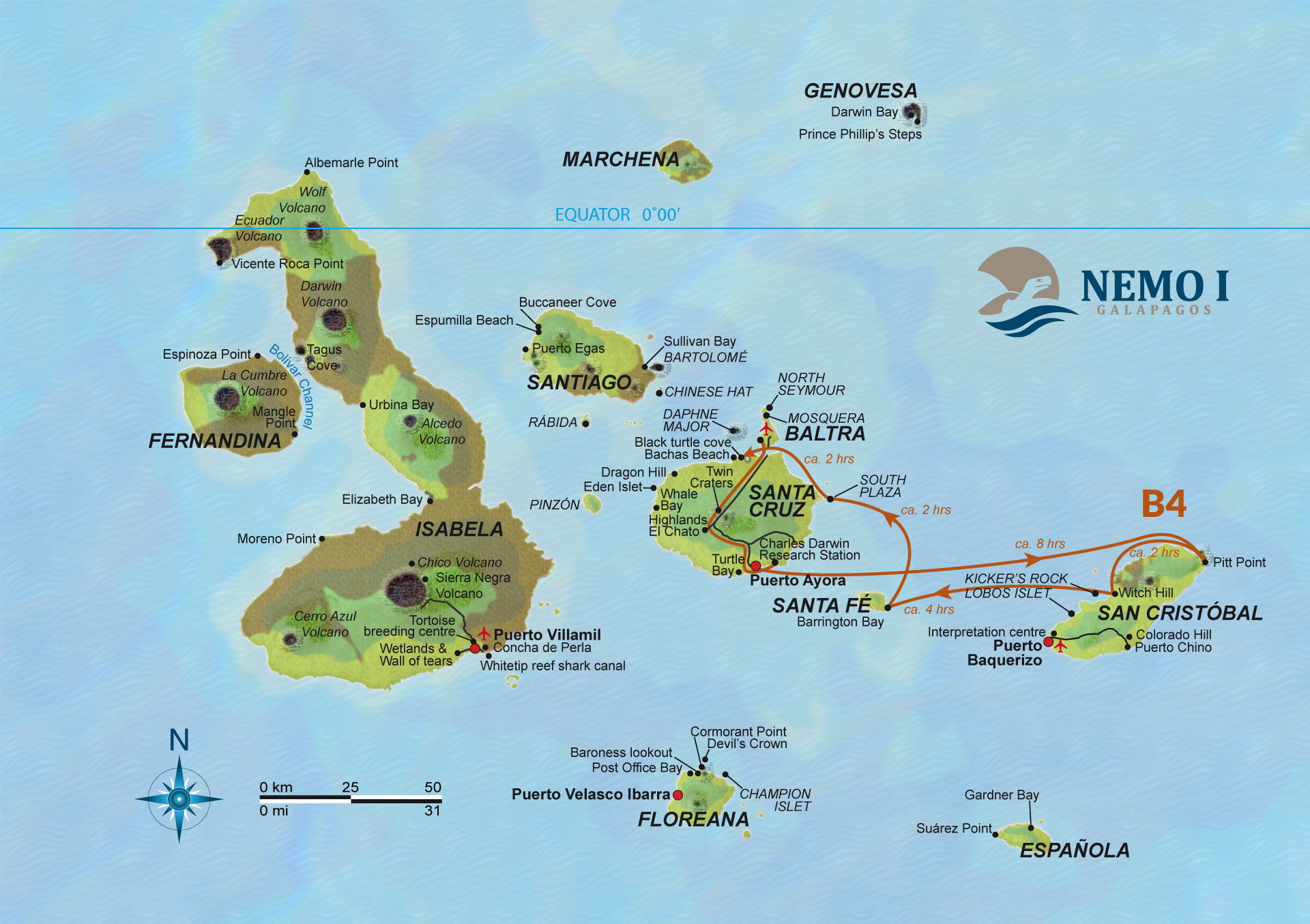 Map for Galapagos 4 Day Cruise Itinerary B (Nemo I)