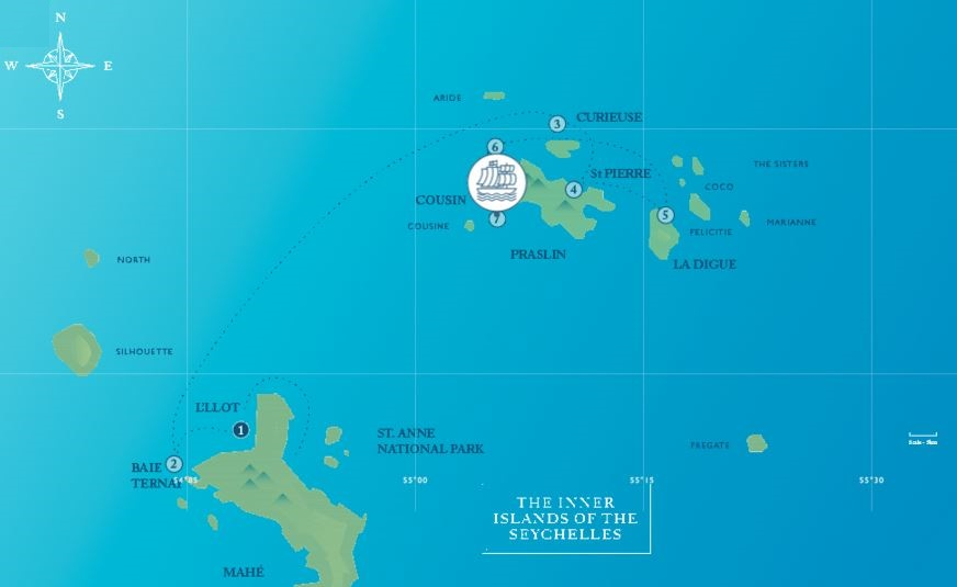 Map for The Seychelles From May to October