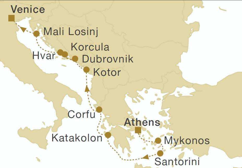 Map for Greece, Montenegro & Croatia 12 Days Cruise